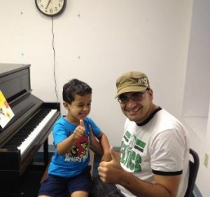 Anthony did great at his first piano lesson at Monument Square Music!