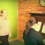 Stephanie works with one of her students Hannah at Monument Square Music School